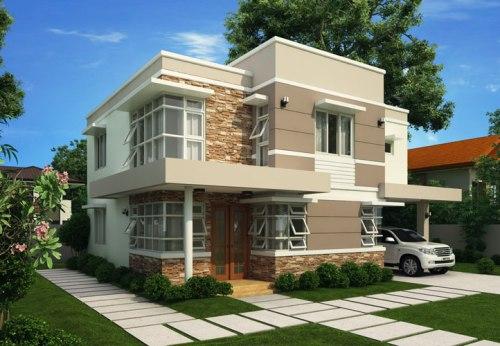 desain rumah sederhana 2 lantai dengan warna netral