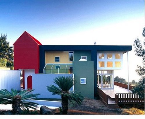 eksterior rumah minimalis 2 lantai unik dengan kombinasi warna