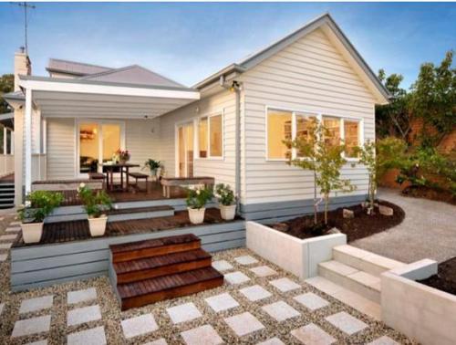 eksterior rumah minimalis sederhana tampak unik dengan landscape