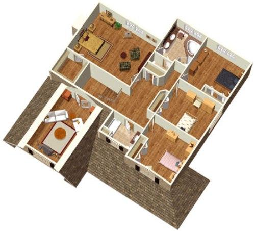 gambar denah rumah sederhana 4 kamar tidur
