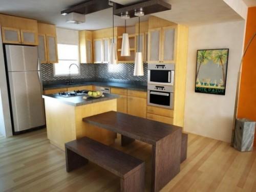 interior dapur dengan warna pastel pada dinding