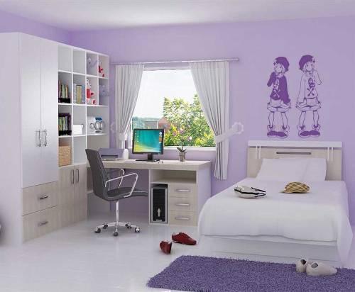 kamar tidur anak perempuan dengan kombinasi warna ungu lembut