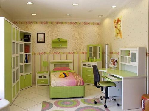 kombinasi cat hijau dan putih di kamar tidur anak