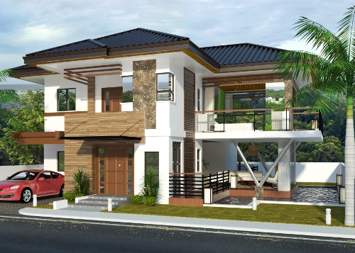 rumah minimalis 2 lantai bernuansa tropis dengan batu alam